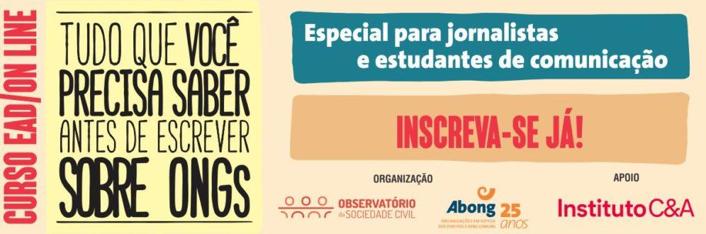 Observatório e Abong lançam curso online e gratuito sobre sociedade civil para jornalistas