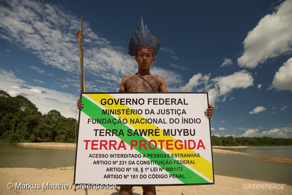 A placa é idêntica a usada pelo governo e ajuda a manter madeireiros, garimpeiros e grileiros fora do território Munduruku