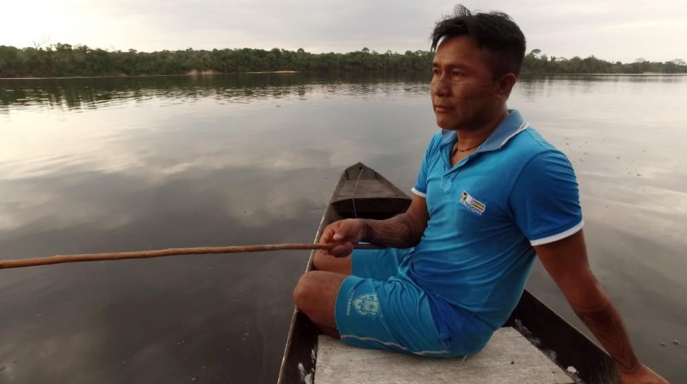 Sandro Waro Munduruku, da aldeia Teles Pires. Os povos indígenas do rio Teles Pires queixam-se muito da diminuição de peixes e da turvação das águas (Foto: Thaís Borges)