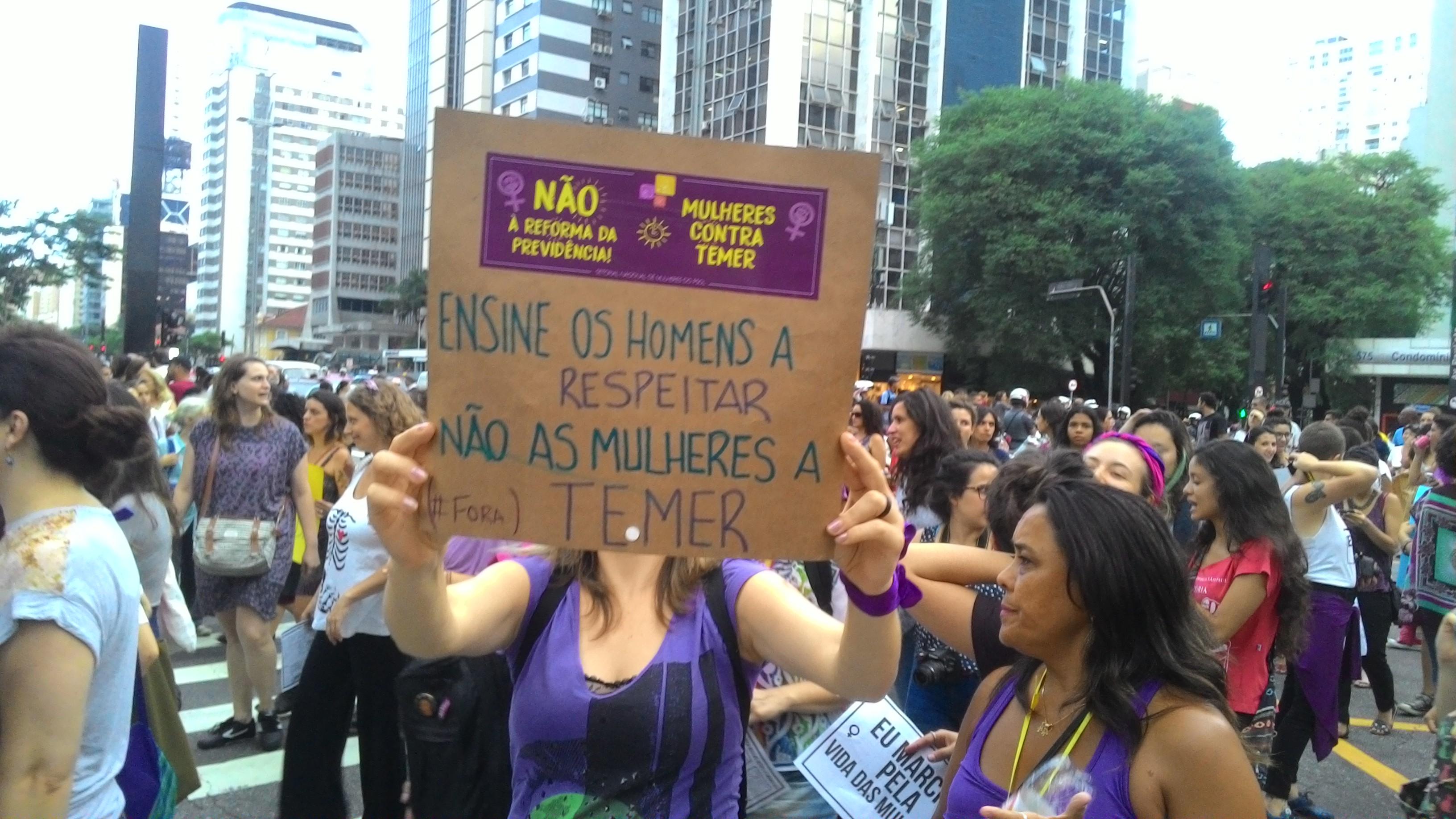 Uma das pautas nos movimentos era a luta contra a violência de gênero (Foto: Kaique Santos)