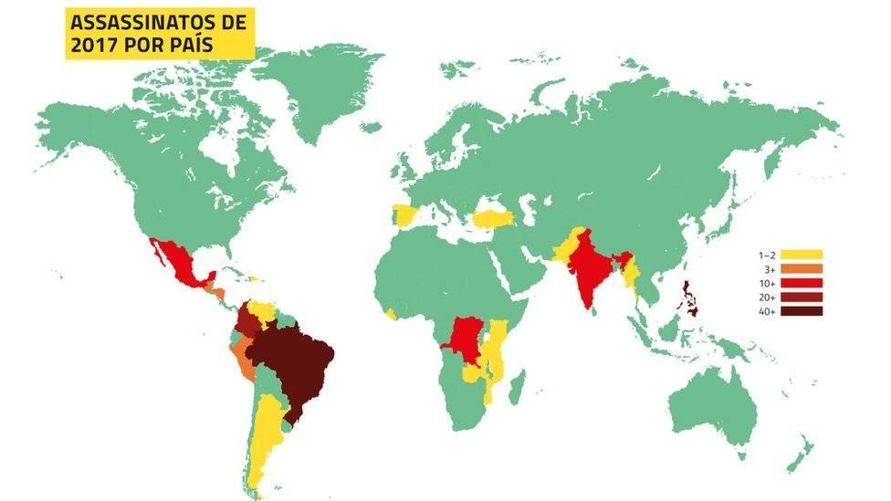 Brasil é país que mais mata defensores do meio ambiente: dos 207 mortos, 57 eram brasileiros Mapa: Global Witness